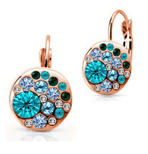 Classic Vintage Set New 2014 18K Gold Plated Simulated Diamond multicolor Round Drop Earrings for women african costume Crystal(China (Mainland))