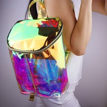 New Designer Hologram Transparent Women Backpack Bookbag Clear Double Adjustable Strap Bag Unique Purse(China (Mainland))