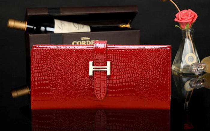 Fashion Genuine reds Leather Wallet Women Handbags Wallets Clutch Bags Hot Sale Brand Design crocodile wallet W01-reds(China (Mainland))