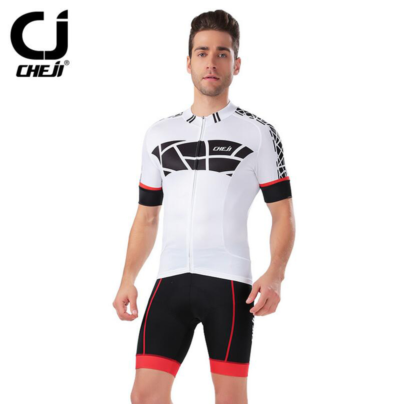 CHEJI 2016 White cycling jersey short sleeve Custom wholesale cycling jersey sets Breathable bicycle jerseys C0626(China (Mainland))