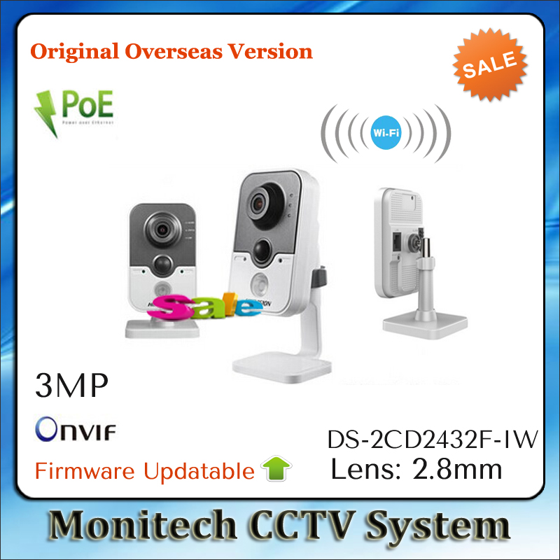 Free shipping HIK Overseas Version Updatable ONVIF DS-2CD2432F-IW Mini POE WIFI Wireless 1080P 3MP Indoor Network CCTV IP Camera(China (Mainland))