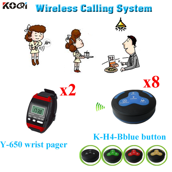 Coffee House Call Bell System Wireless Call Calling Waiter Service Paging System 2pcs Wrist Watch Pager 8pcs Call Button Buzzer(China (Mainland))