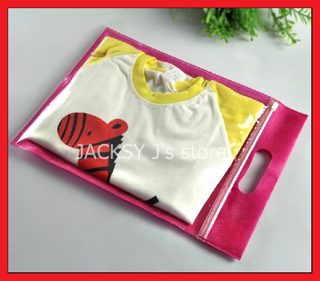 50PCS Ziplock Non woven Tote Bags with handle Reusable for Scarf Kids Clothing Retail Packaing 25*30cm + 5cm(China (Mainland))
