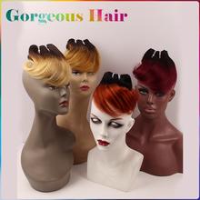5A бразильские волосы девственницы 6 шт. 150 г короткие волнистые переплетения 1B 613 блондинка красный синий 99j 27 33 два тона расширения ломбер человеческих волос
