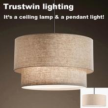 Trustwin brand with fabric linen shade semi flush ceiling lamp light fixture(China (Mainland))