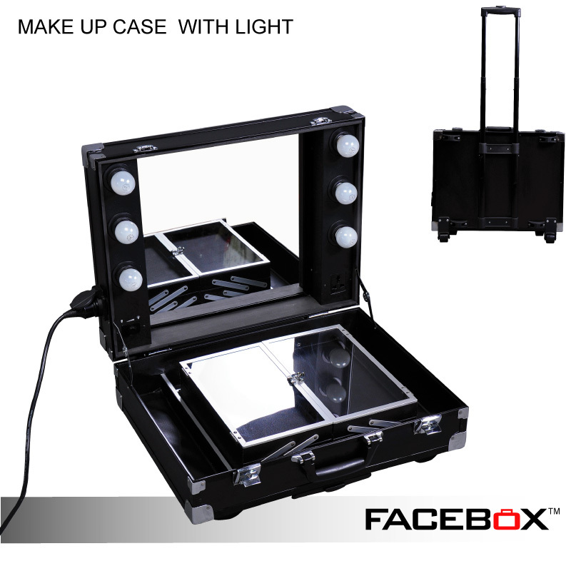 Vanity Case With Lights And Mirror : Facebox Professional Makeup Artist Lighting Makeup Case With Mirror Portable Beauty Box With ...