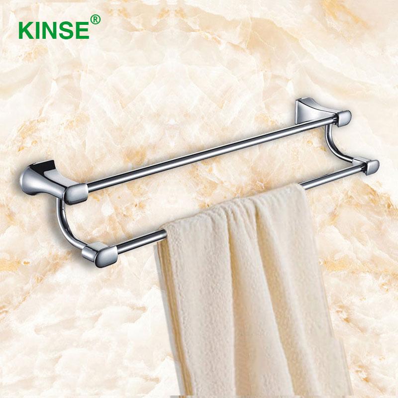 KINSE Zinc-Alloy Chrome Double Towel Bars 60cm Length Towel Rail Towel Rack for Bathroom Accessories(China (Mainland))