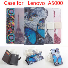 5 Colors Luxury Painted For Lenovo A5000 Case Brand Luxury Leather Cover For Lenovo A 5000 Case Business Color With Wallet bag(China (Mainland))