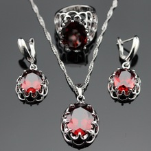 Red Garnet 925 Sterling Silver Jewelry Sets Earrings/Pendant/Necklace/Rings Size 6/7/8/9 For Women Free Gift Box JS1254(China (Mainland))