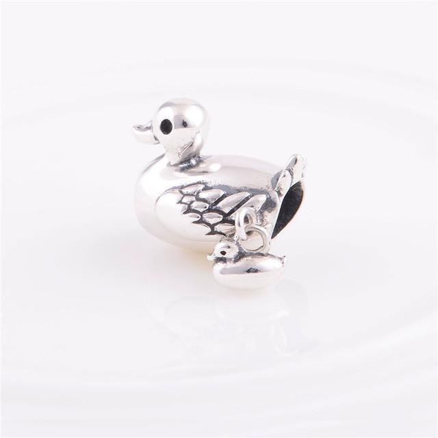 Мода стерлингового серебра 925 бусины европейский шарм утка семья дизайн DIY ювелирных изделий подходит Chamilia стиль браслет