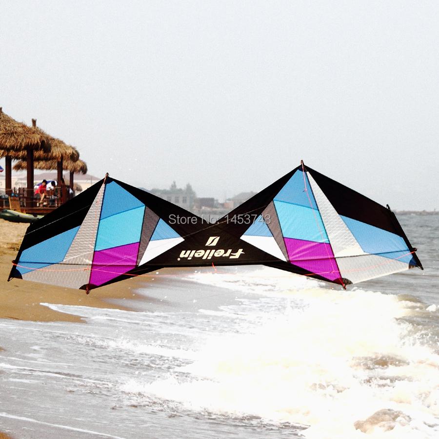 Blue & Purple Design Stranded Type Include Tools Light Wind Stunt Kite Sport Kite Beginner Figure-eight Across Show FREE POST(China (Mainland))