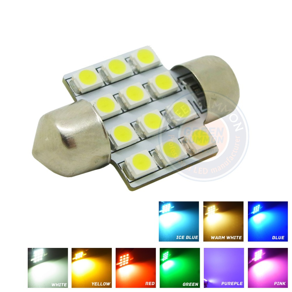 10X 31MM 12-3528 SMD LED Pink Purple Ice blue Green Red Yellow Warm White lights Dome Interior Festoon Lamp Bulbs DC 12V(China (Mainland))