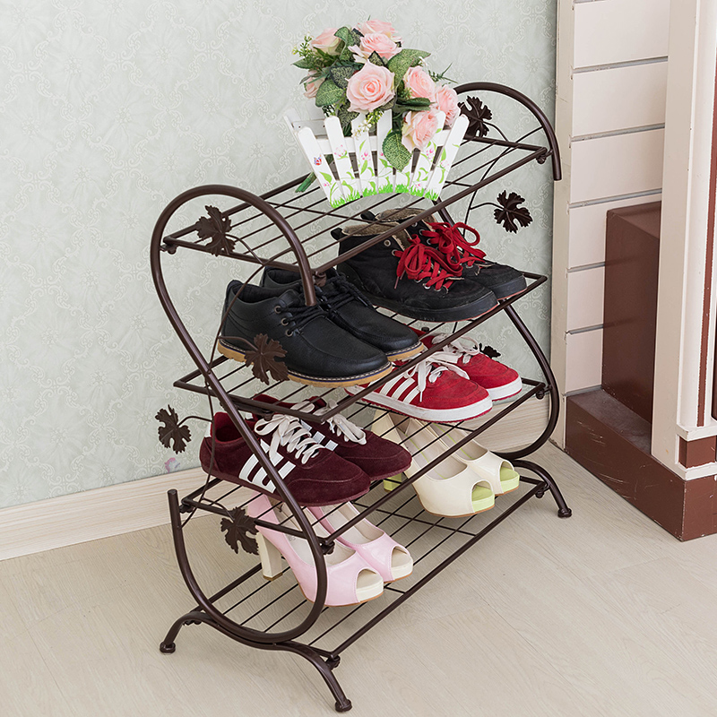 Horizontal floor- living room, wrought iron shoe rack modern four bedroom slippers corner shelf racks Storage Rack(China (Mainland))