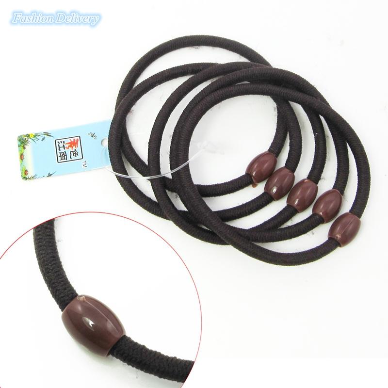 5pcs/lot Brown Hair Bands Bead Hair Ropes Elastic Hair Cord Ponytail Holder Women Girls Hair Accessories(China (Mainland))