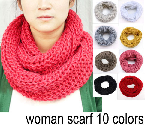 fashion infinity scarf, knitting winter muffler, pullover women's solid color collars hood loop free shipping