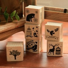 6 pcs/lot 6 designs DIY Cute Wooden Rubber Animal Stamps Set for Diary Photo Album Scrapbooking Gift 3*2.8*cm Free shipping 1030(China (Mainland))