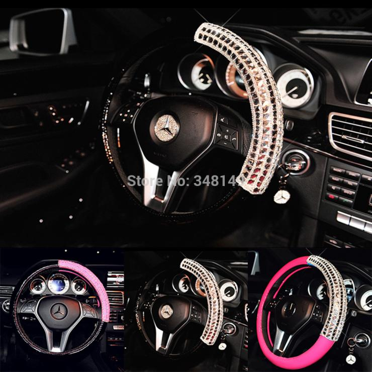 High-Grade Diamond Rhinestone Bright LeatherSteering Wheel Cover  Steering Wheel Hubs Car Interior Supplies Four Seasons General<br><br>Aliexpress