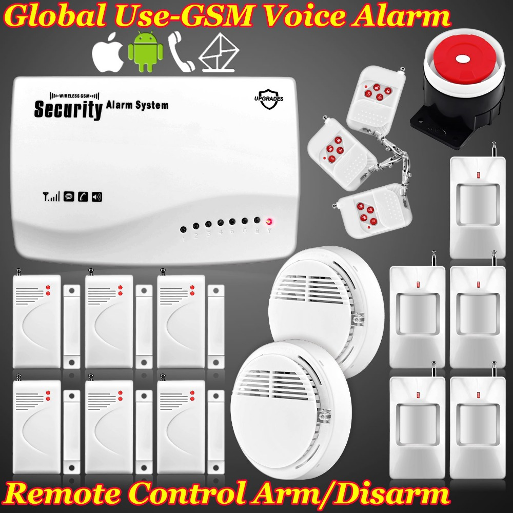 Free shipping! Wireless Home Qual GSM Security Alarm System / Alarms / SMS / Call / Autodial With Backup Battery +Smoke Detector<br>