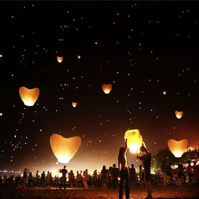 5Pcs/set Love Heart Sky Lantern Flying Wishing Lamp Hot Air Balloon Kongming Lantern Party Favors 90CM For Birthday Party white(China (Mainland))