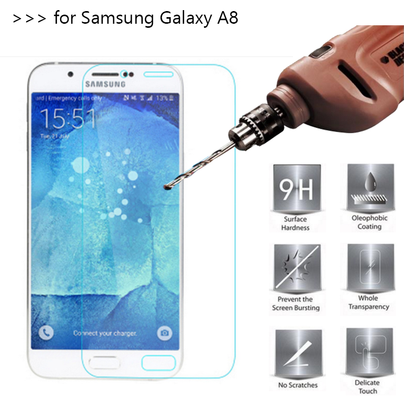 2.5D 0.26mm 9H Premium Tempered Glass Screen Protector For Samsung GALAXY A8 A8000 Toughened protective film For GALAXY A8(China (Mainland))