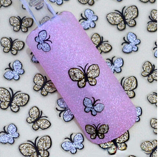 Silver Gold Bling Butterflies Designer Water Transfer Stickers Pieces 3D Nail Art Gel Decals Beauty Polish Decoration 1648575(China (Mainland))