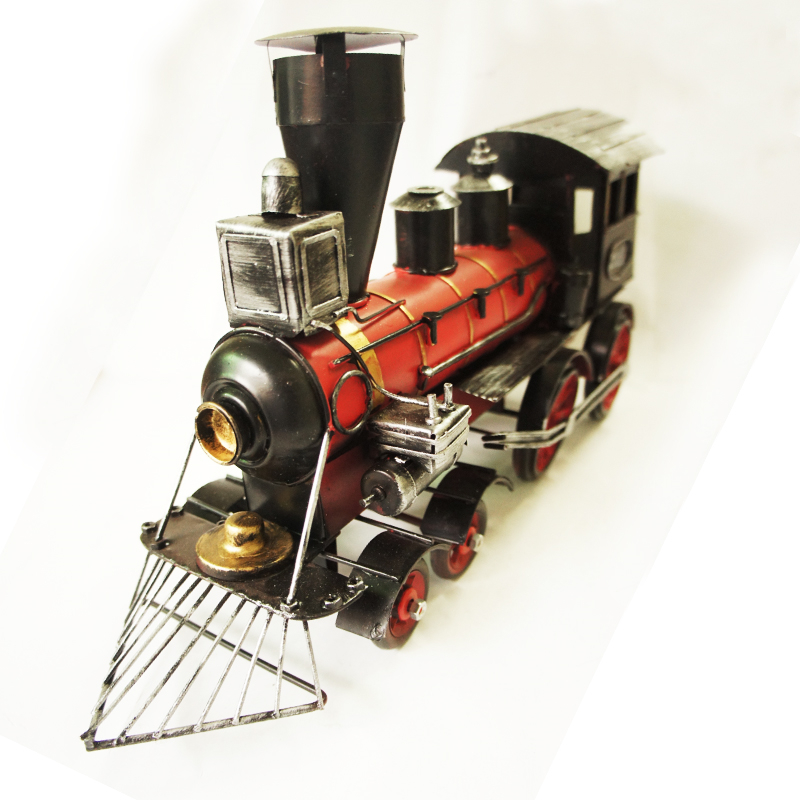 Handmade metal classic cars model British red steam locomotive model iron Metal Crafts retro iron locomotive Home decoration