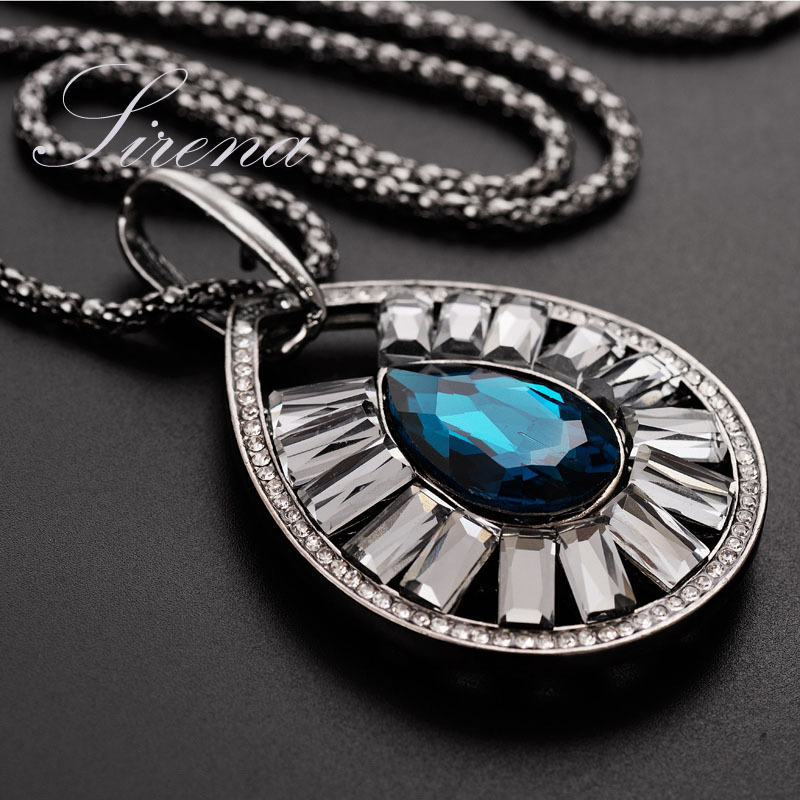 NC020 2015 Bohemian Tears Sapphire Ocean Blue Rhinestone Crystal Luxury Sweater Chain Vintage Pendant Necklace Jewelry - SIRENA store