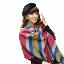 Creative Fashion Women's Large Tartan Scarf Shawl Stole Plaid Tassels Knitting Scarf