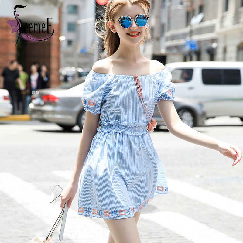 SeemeE Europe Apparel Striped Dress Retro Embroidered Sexy Flounced Splice Women Vestidos Bow Lace-up Summer Super Mini Dresses(China (Mainland))