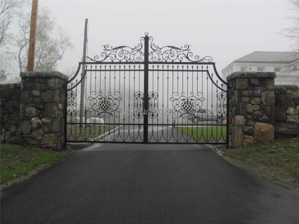 Wrought iron driveway entry gates in doors from home