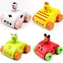 Baby wooden sounding cartoon car toys/ pull back animal make sounds vehicle car toys for kids and child gifts, free shipping
