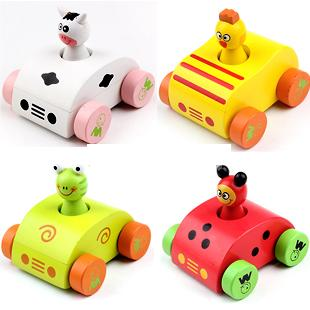 Baby wooden sounding cartoon car toys/ pull back animal make sounds vehicle car toys for kids and child gifts, free shipping(China (Mainland))