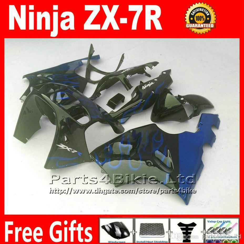 ABS motorcycle parts for 1996 - 2003 Kawasaki Ninja fairing kit ZX 7R blue flame in black fairings set ZX-7R ZX7R 96-02 03 Yr90+(China (Mainland))