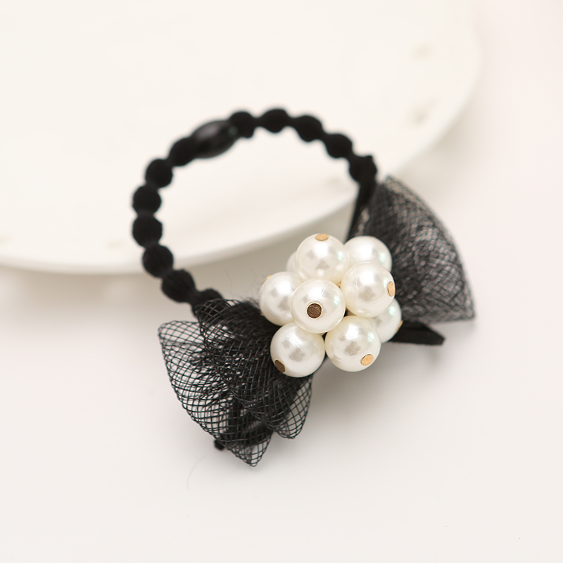 2015 hot sell ribbon bow elastic band girls hair font b accessories b font with pearl