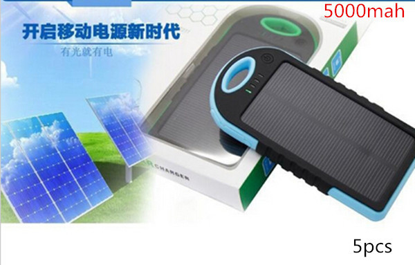 5PCS 5000mAh Solar IP4X4 Waterproof External Power Bank Battery Pack Dual USB Charger for cell phones 2015 NEW(China (Mainland))