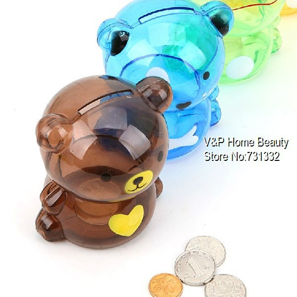 4 pcs/lot Teddy bear Coin Bank atm Money box bank Saving box Moneybox Unique toy for kids Decorative Novelty household gift 5011(China (Mainland))