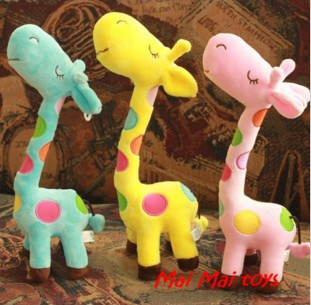 beautiful lovely small multi color Giraffe children toy ,blue,yellow,pink free shipping(China (Mainland))