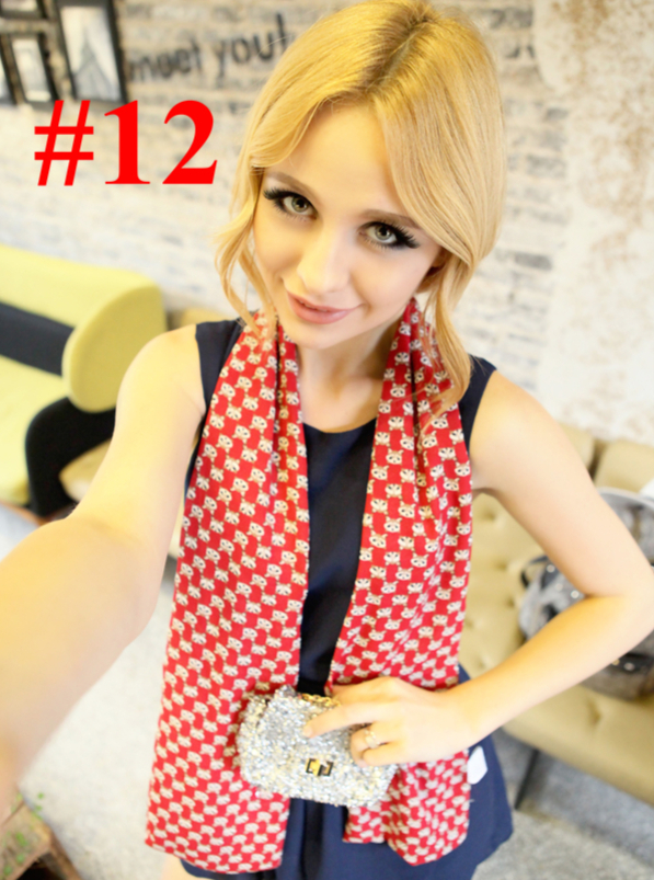 140 * 18cm 10 Colors Fashion Women's Scarf Chiffon Voile Lady Girls Print Brand Double-sided Autumn Winter Wrap - Mlcren benz's store