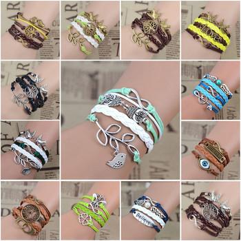 Смешайте бесконечность любовь кожаный любовь сова лист шарм ручной браслет браслеты ...