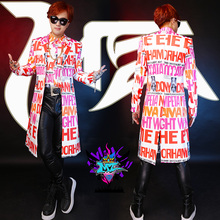 Buy Plus Size Nightclubs Letter Long Jacket Men GD Male Singer Jackets Bar Show DJ Hot Trench outerwear Coats Slim Costumes for $58.00 in AliExpress store