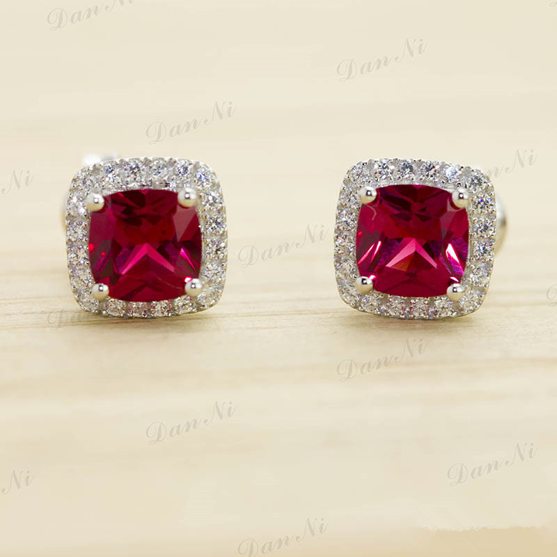 Perfect as a gift Factory Promotion HOT Pigeon Blood Ruby Earrings Stud Princess Cut 3ct Sterling Silver shine Free Shipping(China (Mainland))