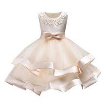 2018 Meninas Vestidos de Princesa High-end Crianças Apresentador Vestidos de Contas Rendas Decoração Crianças Vestidos de Noiva Roupas de Menina(China)