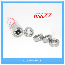 Free shipping 10pcs/lot 688ZZ 688Z 688 ABEC-5 8*16*5 Miniature Ball Radial Deep Groove Ball Bearings fot 3D printer part