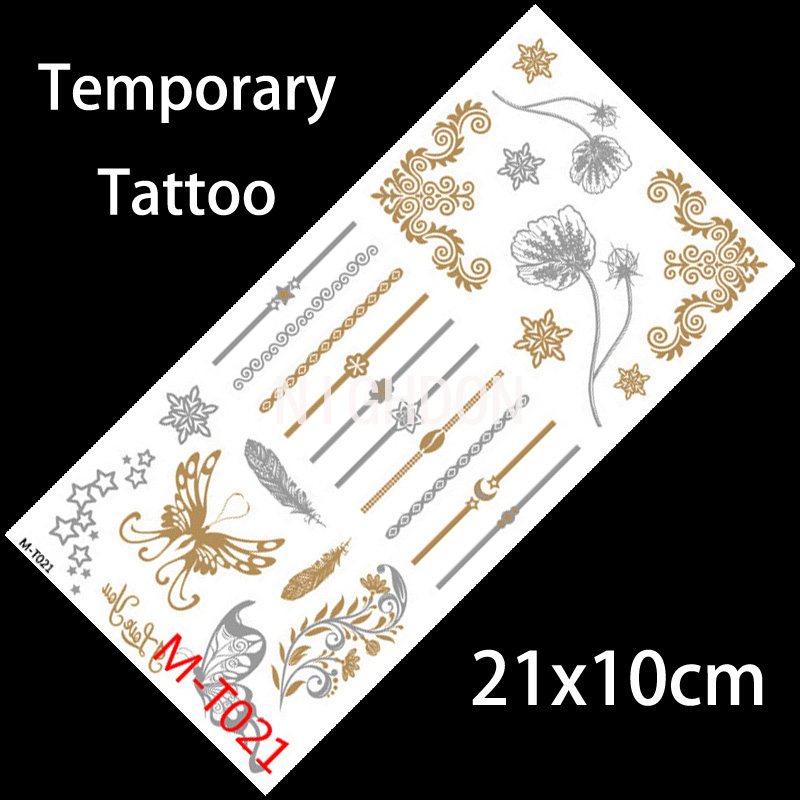 21x10cm Fake Gold Tattoos Butterfly Flash Tattoos Flash-Tattoo Gold Temporary Tattoo Stickers Armband Temporary Body Art NMT0021(China (Mainland))