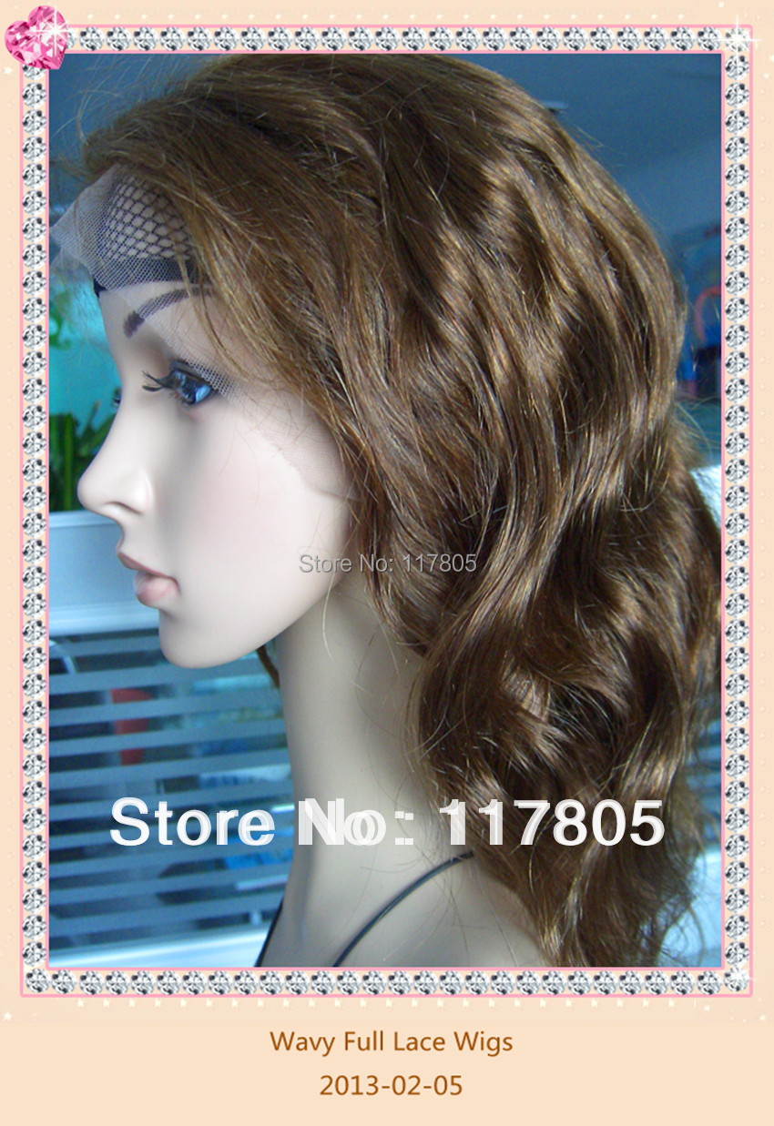 Great Wigs Full Lace Hair Wigs 18 Inches Natural Color Wavy Women's Wig 100% Body Wave Natural Hair Submissive(China (Mainland))