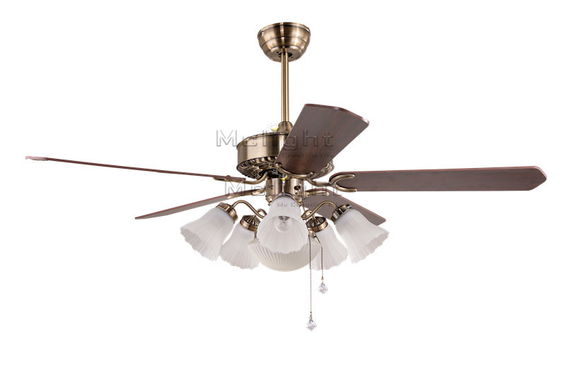 Flower White Ceiling Fans With 6 Light Kits For Foyer Restaurant Coffee House Living Room Lamp 48 inch 5 Wooden Blade Fixture<br><br>Aliexpress