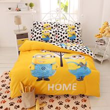 Cartoon Bedding Set 4pcs Printing Cama Minions Bedclothes Duvet Cover Bed Sheet  Children Kids Comforter Bedding Sets Bed Linen(China (Mainland))