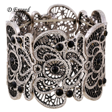 New Arrival Women's Vintage Metal Lace Textured Etched Filigree Crystal Stretch Bangle Bracelet Best Christmas Gift(China (Mainland))