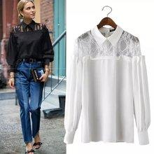 Women fashion Lace patchwork shoulder lace office style blouse solid OL tops blusas sexy de renda feminino ladies back open - CHERISH&FASHION store