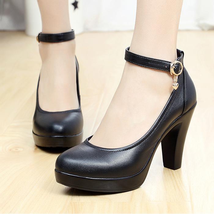 belt button thick heel high heels platform shoes  womens shoes<br><br>Aliexpress